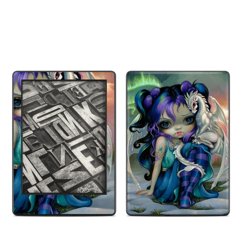 Amazon Kindle 8th Gen Skin design of Illustration, Fictional character, Cg artwork, Art, Mythology, Anime, Mythical creature with green, blue, purple, yellow, red, white colors