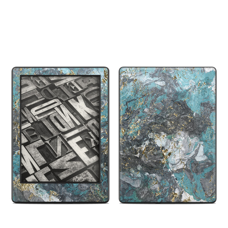 Amazon Kindle 8th Gen Skin design of Blue, Turquoise, Green, Aqua, Teal, Geology, Rock, Painting, Pattern with black, white, gray, green, blue colors