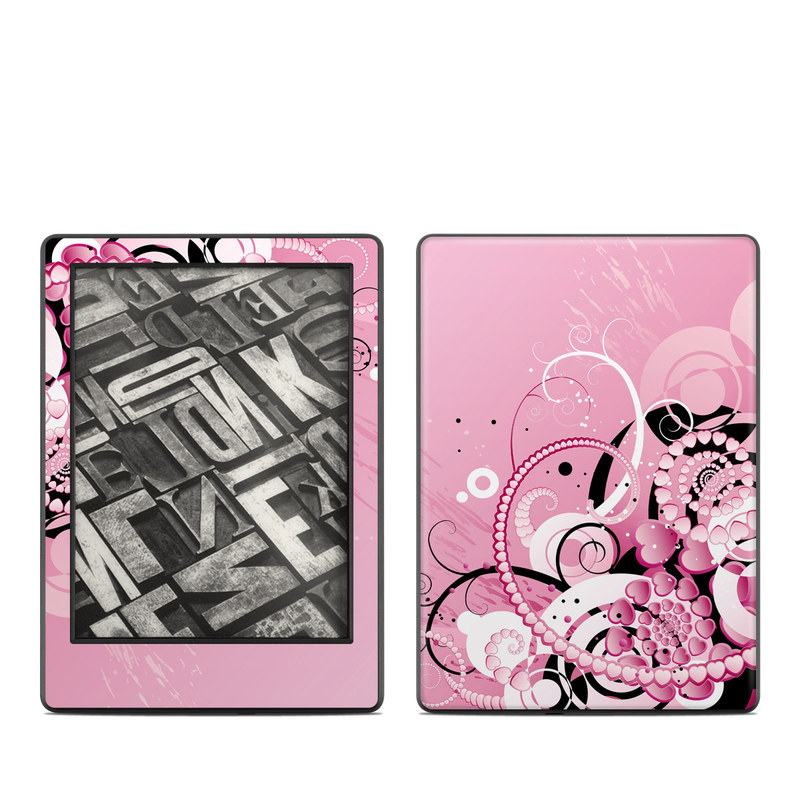Amazon Kindle 8th Gen Skin design of Pink, Floral design, Graphic design, Text, Design, Flower Arranging, Pattern, Illustration, Flower, Floristry with pink, gray, black, white, purple, red colors
