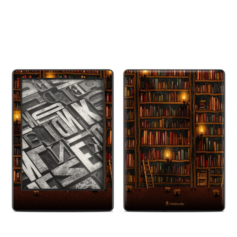 Amazon Kindle 8th Gen Skin design of Shelving, Library, Bookcase, Shelf, Furniture, Book, Building, Publication, Room, Darkness with black, red colors