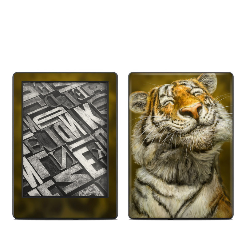 Amazon Kindle 8th Gen Skin design of Tiger, Vertebrate, Bengal tiger, Mammal, Wildlife, Siberian tiger, Terrestrial animal, Felidae, Snout, Whiskers with black, white, orange, yellow colors