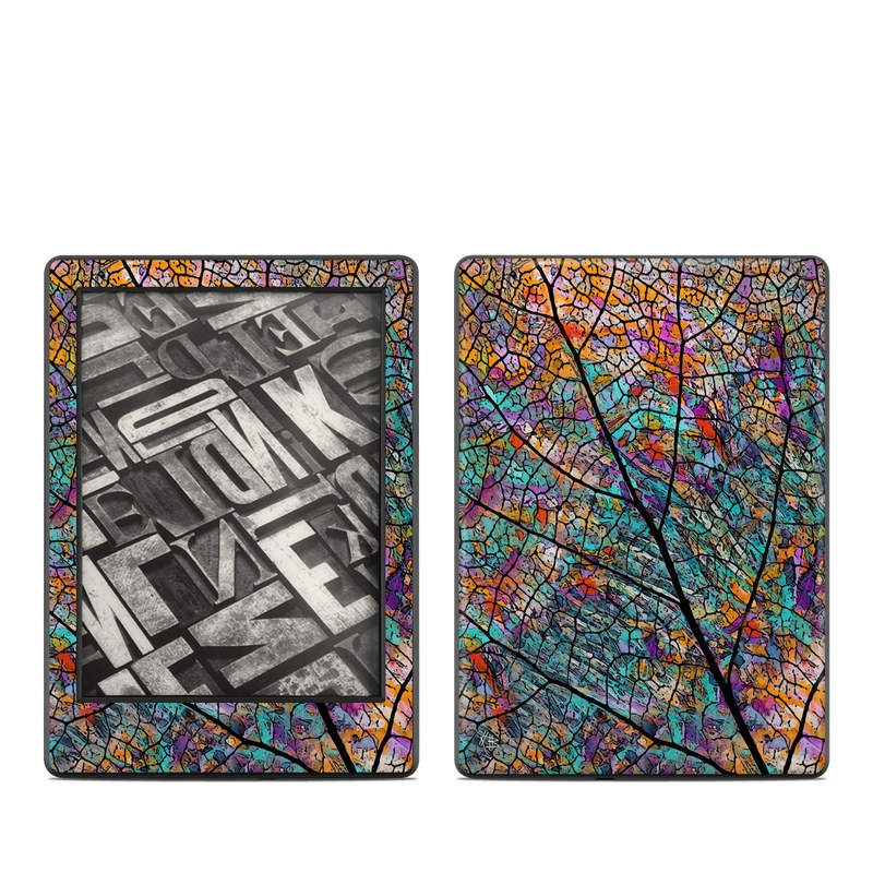 Amazon Kindle 8th Gen Skin design of Pattern, Colorfulness, Line, Branch, Tree, Leaf, Design, Visual arts, Glass, Plant with black, gray, red, blue, green colors