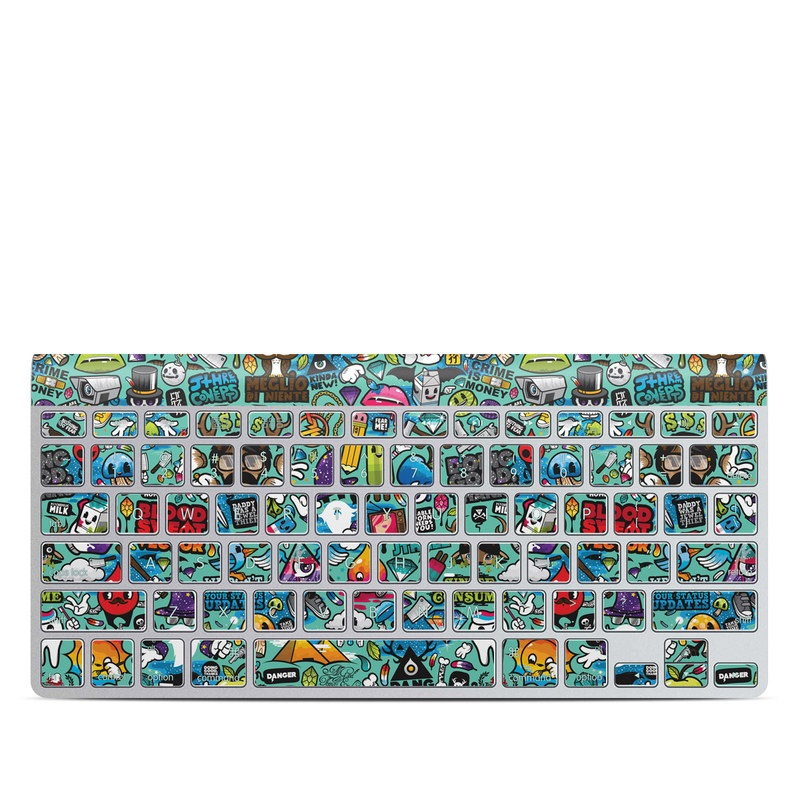 Apple Wireless Keyboard Skin design of Cartoon, Art, Pattern, Design, Illustration, Visual arts, Doodle, Psychedelic art with black, blue, gray, red, green colors