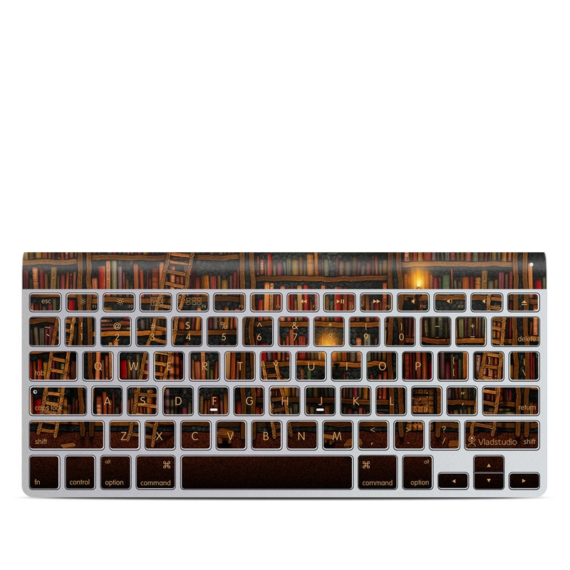 Apple Wireless Keyboard Skin design of Shelving, Library, Bookcase, Shelf, Furniture, Book, Building, Publication, Room, Darkness with black, red colors