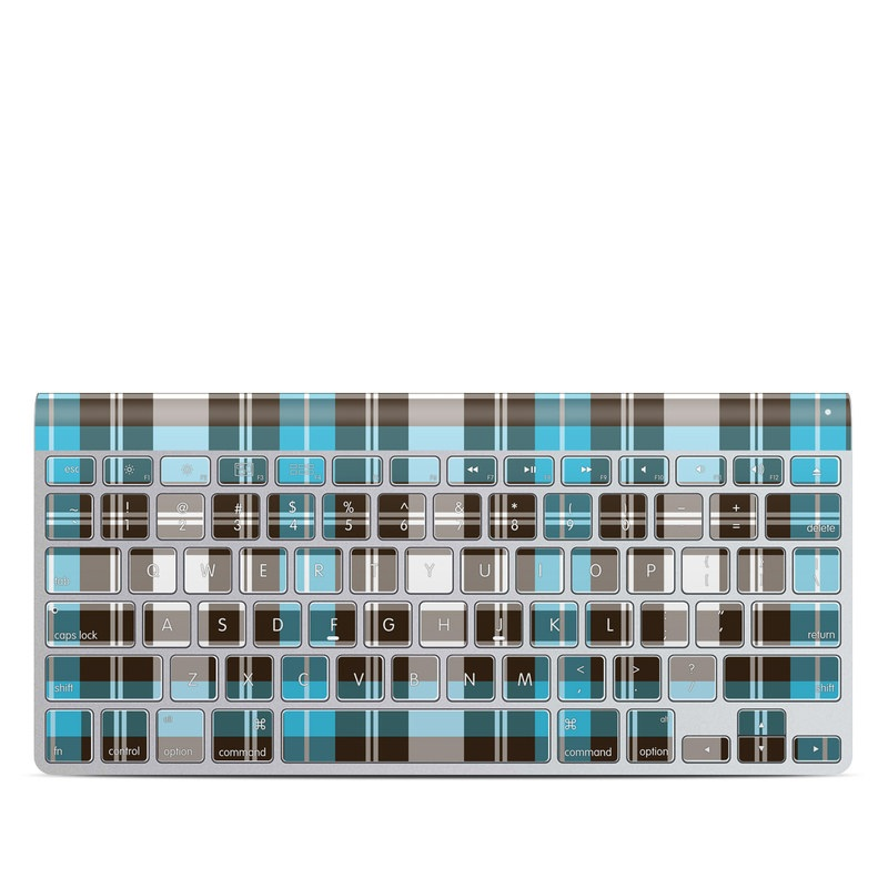 Turquoise Plaid Apple Wireless Keyboard Skin