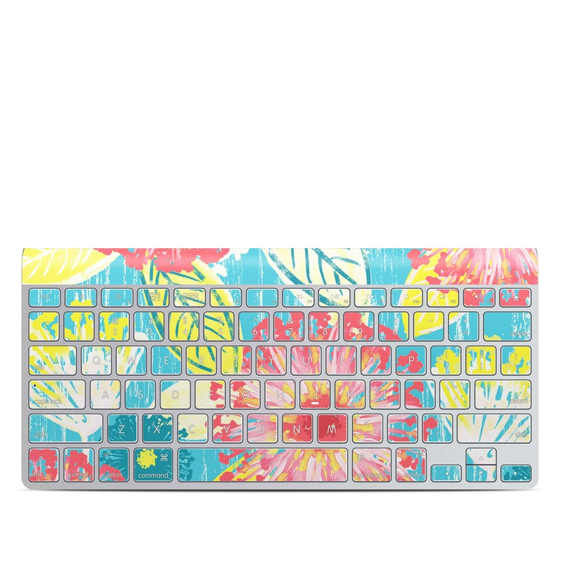 Apple Wireless Keyboard Skin design of Pattern, Design, Flower, Floral design, Plant, Textile, Wrapping paper, Wildflower, Visual arts with pink, gray, blue, yellow colors