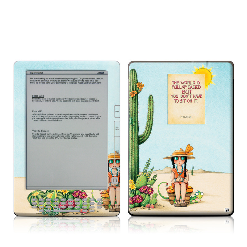 Amazon Kindle 2nd Gen DX Skin design of Cartoon, Cactus, Illustration, Animated cartoon, Plant, Vegetable, Fictional character, Art with green, yellow, pink, orange, brown colors