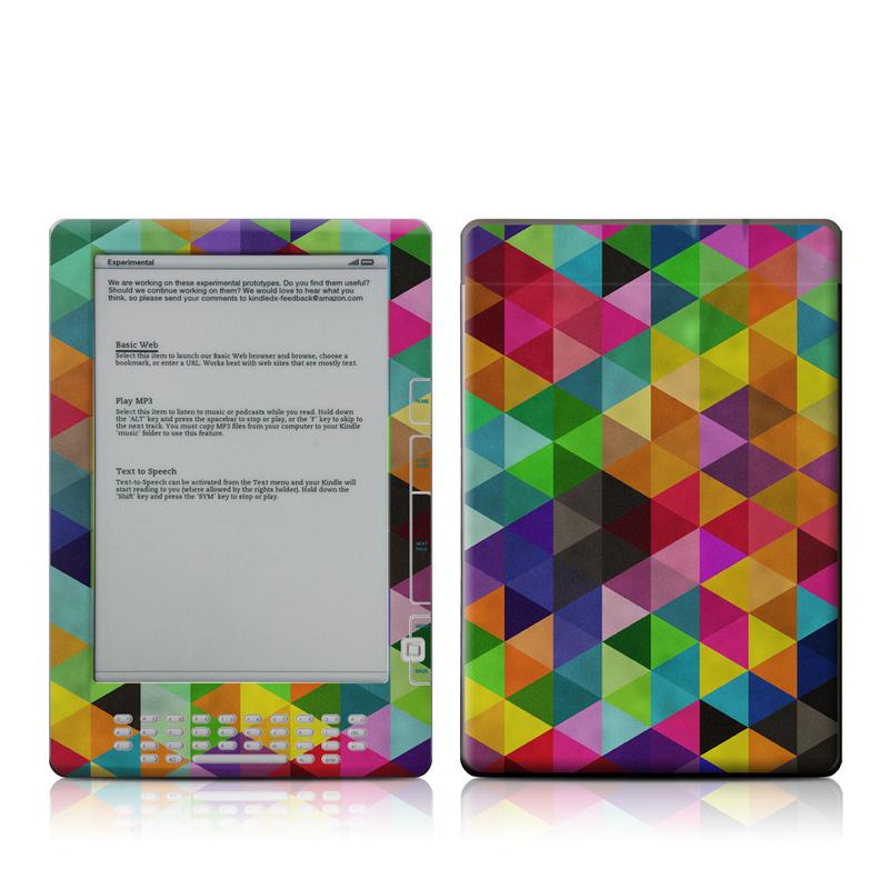 Amazon Kindle 2nd Gen DX Skin design of Pattern, Orange, Purple, Violet, Triangle, Magenta, Line, Design, Psychedelic art, Colorfulness with black, red, green, blue colors