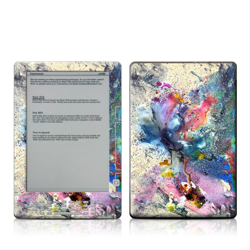 Amazon Kindle 2nd Gen DX Skin design of Watercolor paint, Painting, Acrylic paint, Art, Modern art, Paint, Visual arts, Space, Colorfulness, Illustration with gray, black, blue, red, pink colors