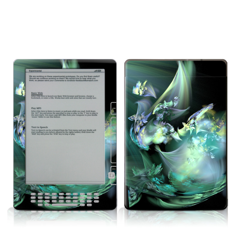 Amazon Kindle 2nd Gen DX Skin design of Fractal art, Cg artwork, Fictional character, Organism, Graphic design, Graphics, Art, Photography, Mythical creature, Dragon with black, blue, gray, green colors