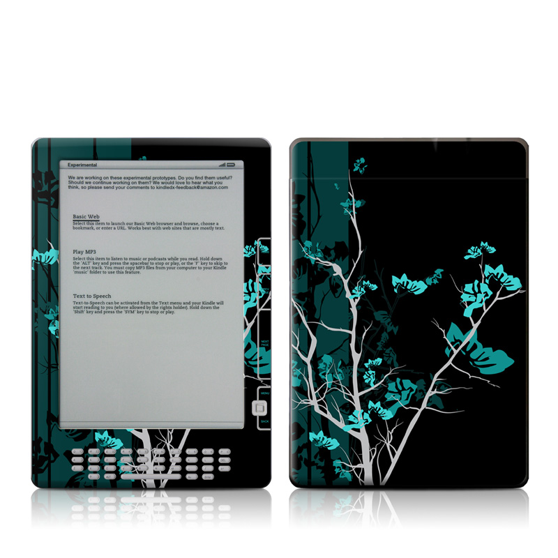 Amazon Kindle 2nd Gen DX Skin design of Branch, Black, Blue, Green, Turquoise, Teal, Tree, Plant, Graphic design, Twig with black, blue, gray colors