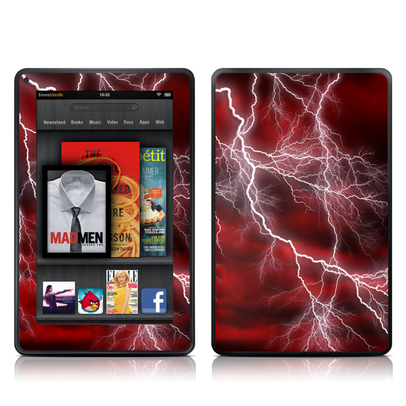 Amazon Kindle Fire 2012 Skin design of Thunder, Thunderstorm, Lightning, Red, Nature, Sky, Atmosphere, Geological phenomenon, Lighting, Atmospheric phenomenon with red, black, white colors