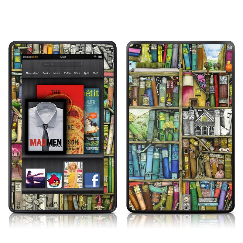 Amazon Kindle Fire 2012 Skin design of Collection, Art, Visual arts, Bookselling, Shelving, Painting, Building, Shelf, Publication, Modern art with brown, green, blue, red, pink colors