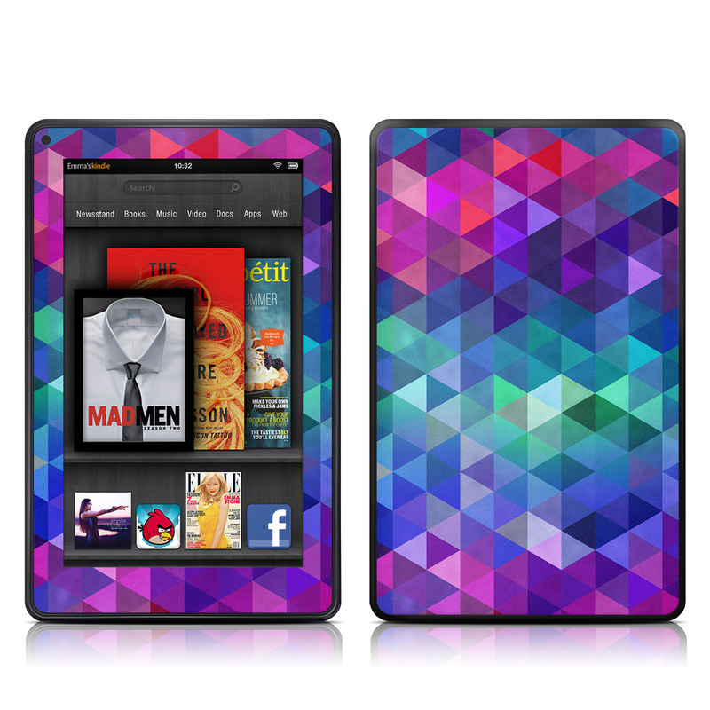 Amazon Kindle Fire 2012 Skin design of Purple, Violet, Pattern, Blue, Magenta, Triangle, Line, Design, Graphic design, Symmetry with blue, purple, green, red, pink colors
