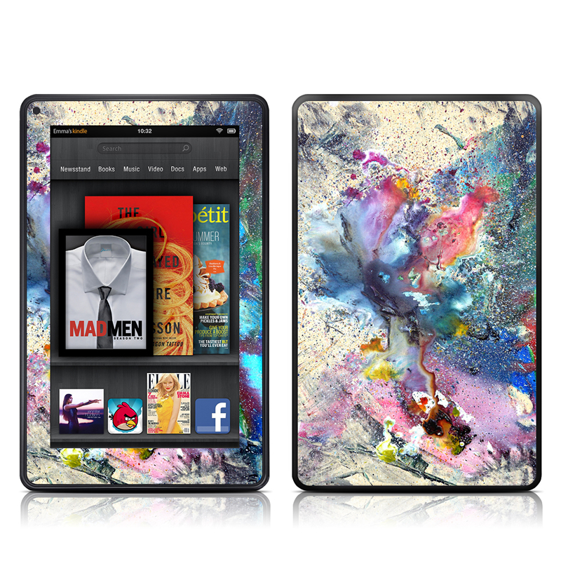 Amazon Kindle Fire 2012 Skin design of Watercolor paint, Painting, Acrylic paint, Art, Modern art, Paint, Visual arts, Space, Colorfulness, Illustration with gray, black, blue, red, pink colors