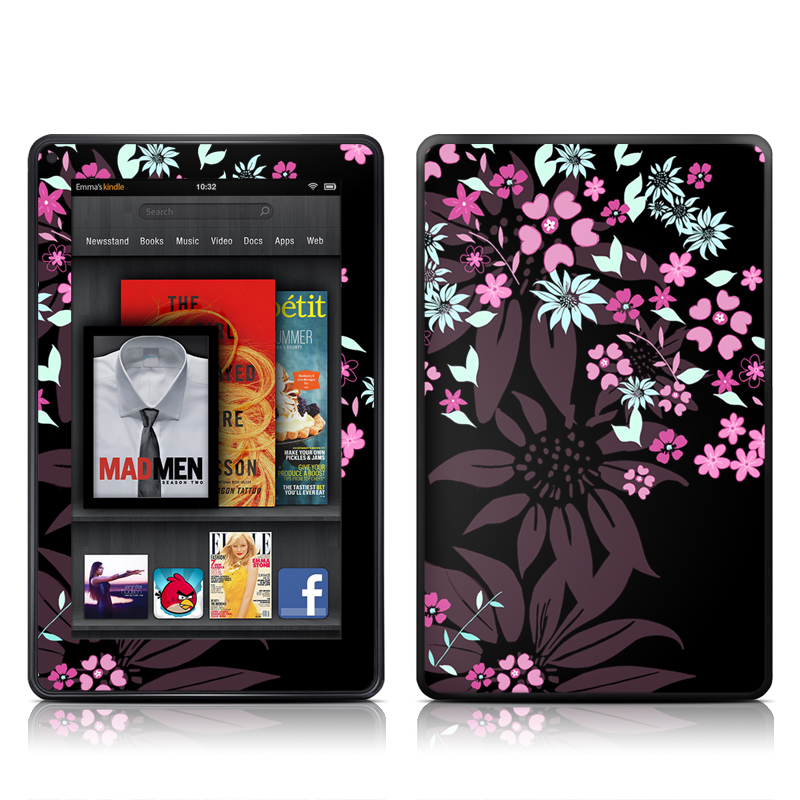 Amazon Kindle Fire 2012 Skin design of Pink, Pattern, Flower, Plant, Botany, Petal, Floral design, Design, Pedicel, Graphic design with black, gray, purple, green, red, pink colors
