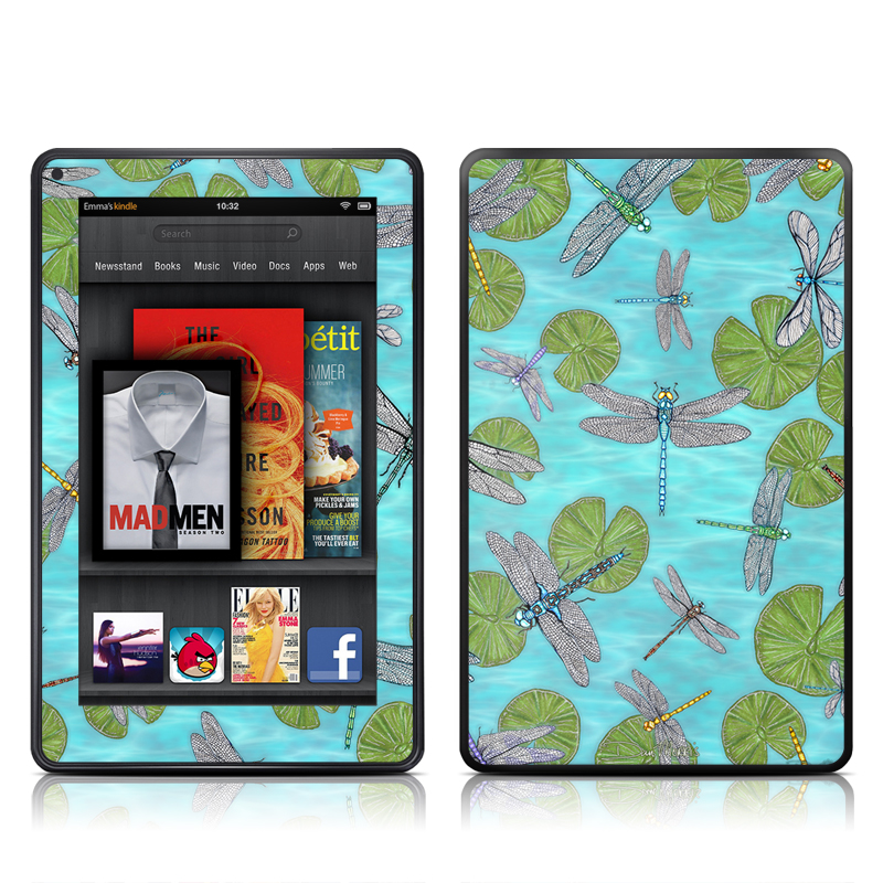 Dragonflies Over Pond Amazon Kindle Fire Skin
