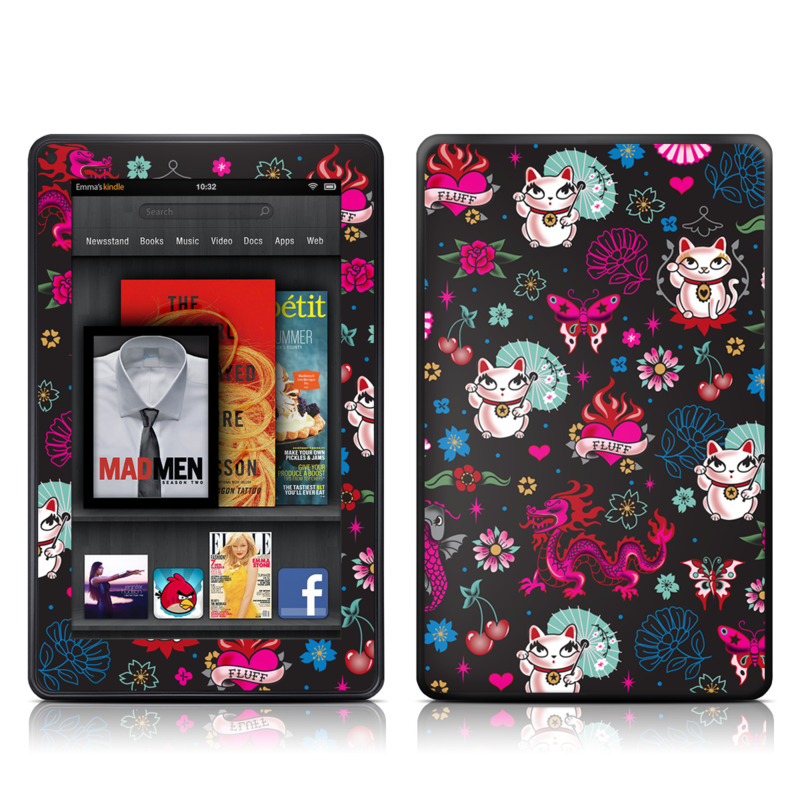 Amazon Kindle Fire 2012 Skin design of Cartoon, Pink, Illustration, Pattern, Graphic design, Design, Font, Visual arts, Graphics, Art with black, gray, red, purple, pink, white colors