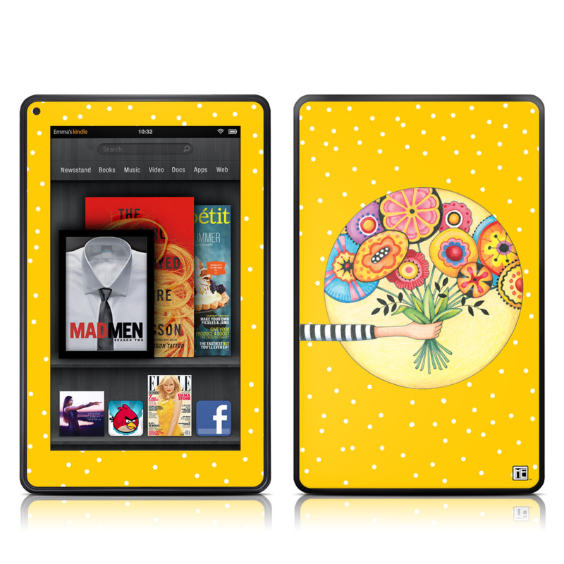 Amazon Kindle Fire 2012 Skin design of Circle, Illustration, Clip art, Plant with orange, yellow, pink, gray, green, black colors