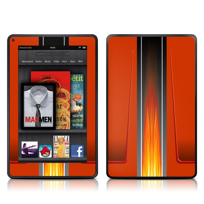 Amazon Kindle Fire 2012 Skin design of Orange, Red, Line, Material property, Rectangle, Automotive lighting with red, black, orange, gray colors