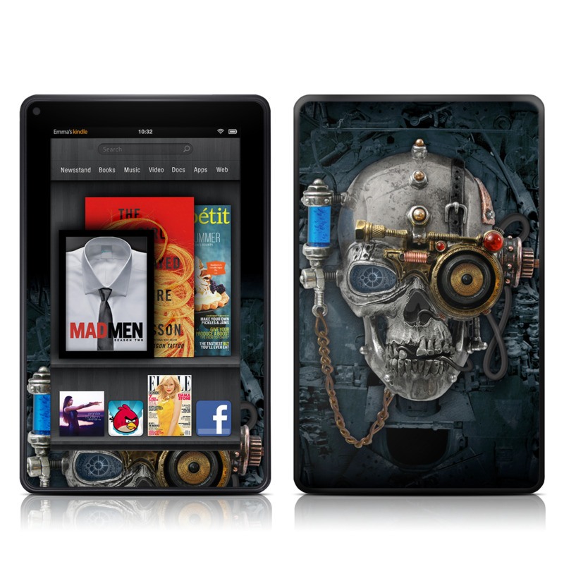 Amazon Kindle Fire 2012 Skin design of Engine, Auto part, Still life photography, Personal protective equipment, Illustration, Automotive engine part, Art with black, gray, red, green colors