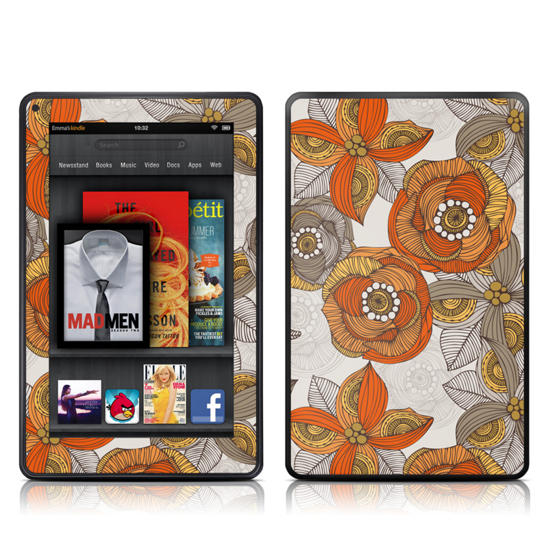 Orange and Grey Flowers Amazon Kindle Fire Skin