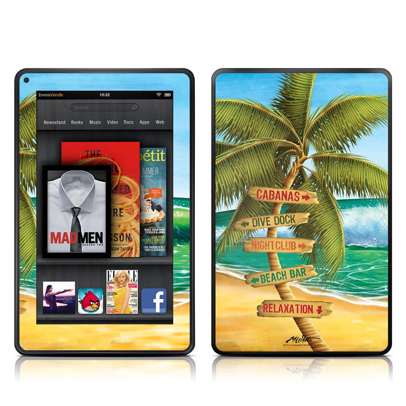 Amazon Kindle Fire 2012 Skin design of Palm tree, Arecales, Tropics, Tree, Caribbean, Wave, Water, Coconut, Ocean, Elaeis with green, purple, gray, black, blue colors