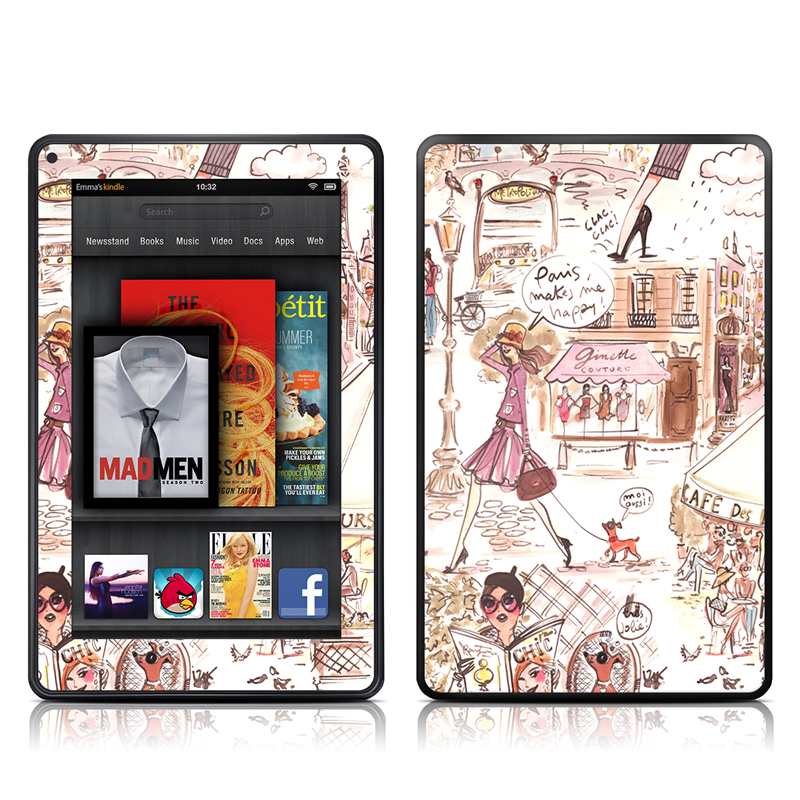Paris Makes Me Happy Amazon Kindle Fire Skin