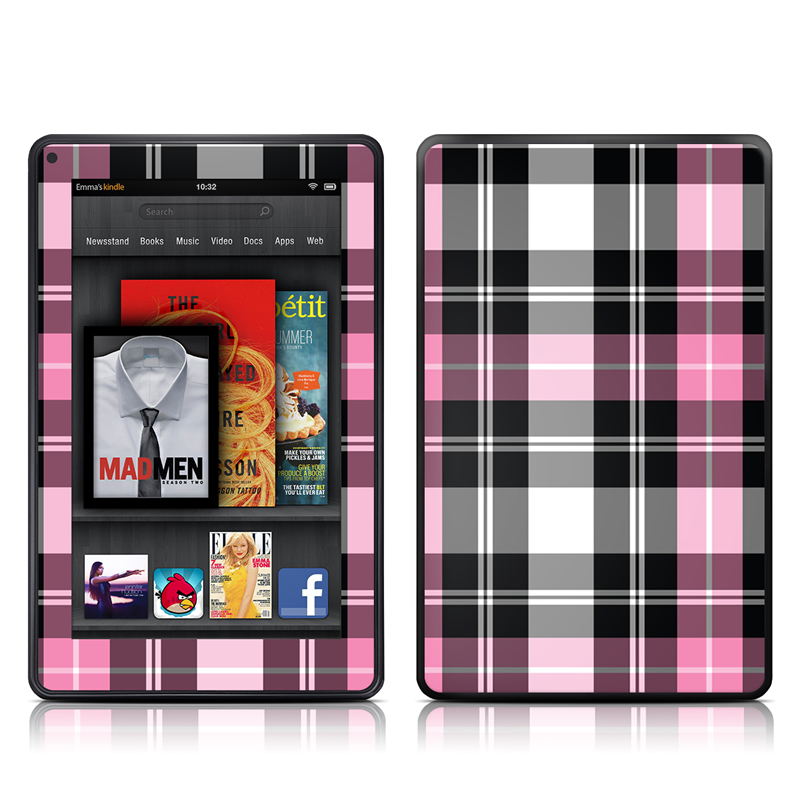 Amazon Kindle Fire 2012 Skin design of Plaid, Tartan, Pattern, Pink, Purple, Violet, Line, Textile, Magenta, Design with black, gray, pink, red, white, purple colors