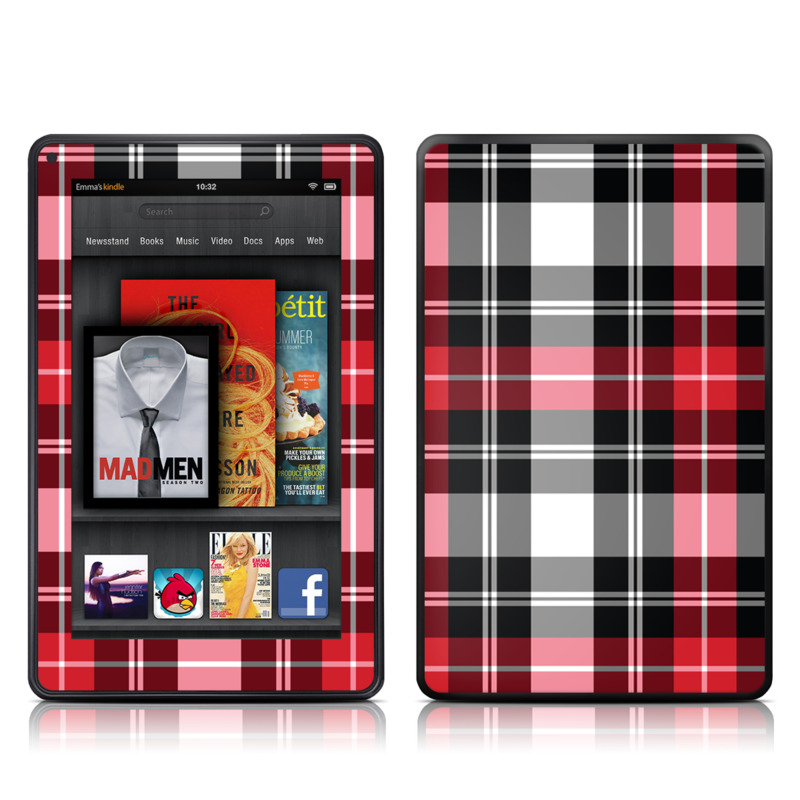 Amazon Kindle Fire 2012 Skin design of Plaid, Tartan, Pattern, Red, Textile, Design, Line, Pink, Magenta, Square with black, gray, pink, red, white colors