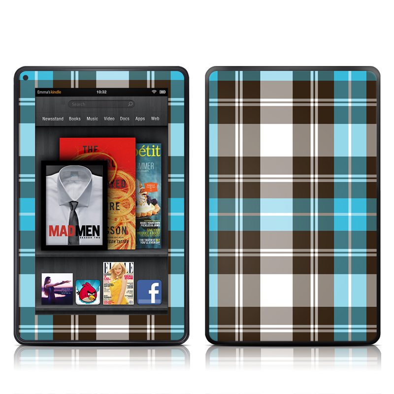 Turquoise Plaid Amazon Kindle Fire Skin