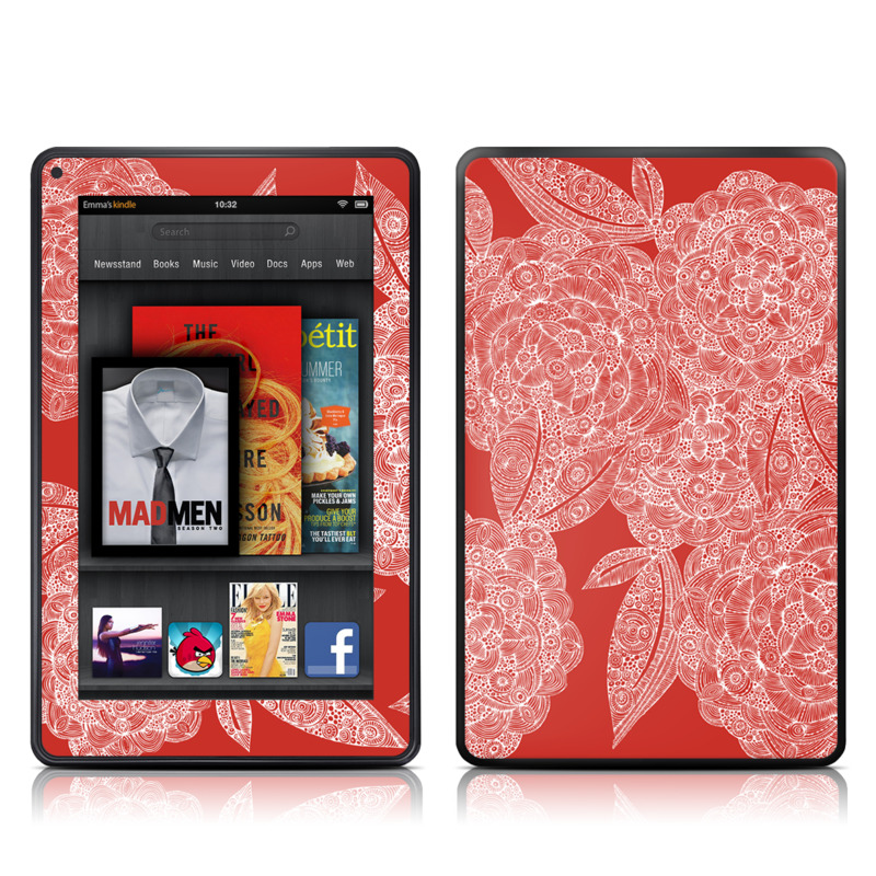 Red Dahlias Amazon Kindle Fire Skin