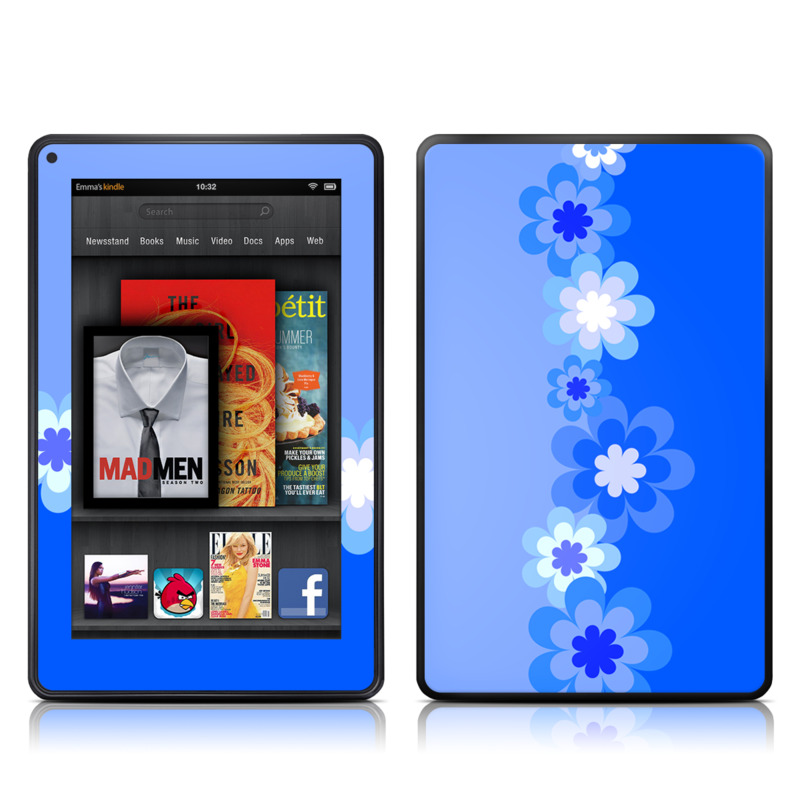 Retro Blue Flowers Amazon Kindle Fire Skin