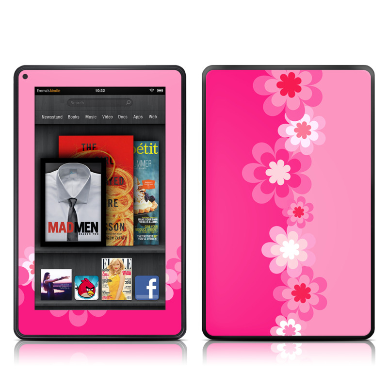 Retro Pink Flowers Amazon Kindle Fire Skin