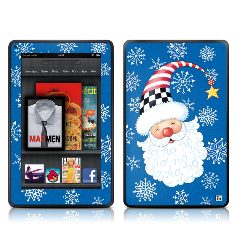 Amazon Kindle Fire 2012 Skin design of Christmas, Santa claus, Christmas eve, Fictional character with blue, white, gray, purple colors