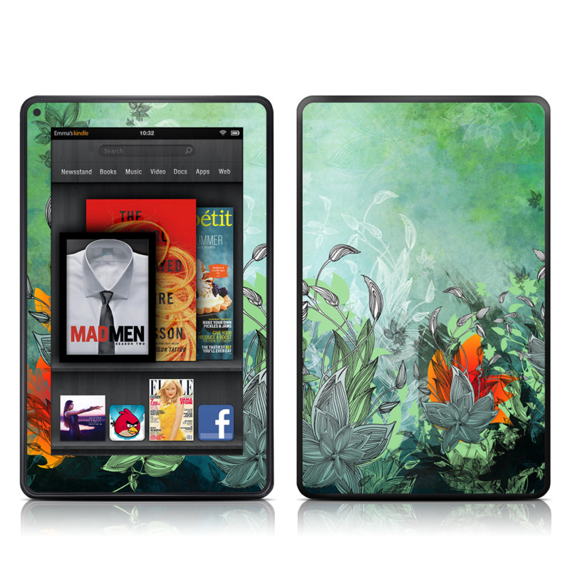 Amazon Kindle Fire 2012 Skin design of Flower, Plant, Leaf, Botany, Watercolor paint, Illustration, Wildflower, Art, Landscape, Jungle with gray, black, blue, green, red colors