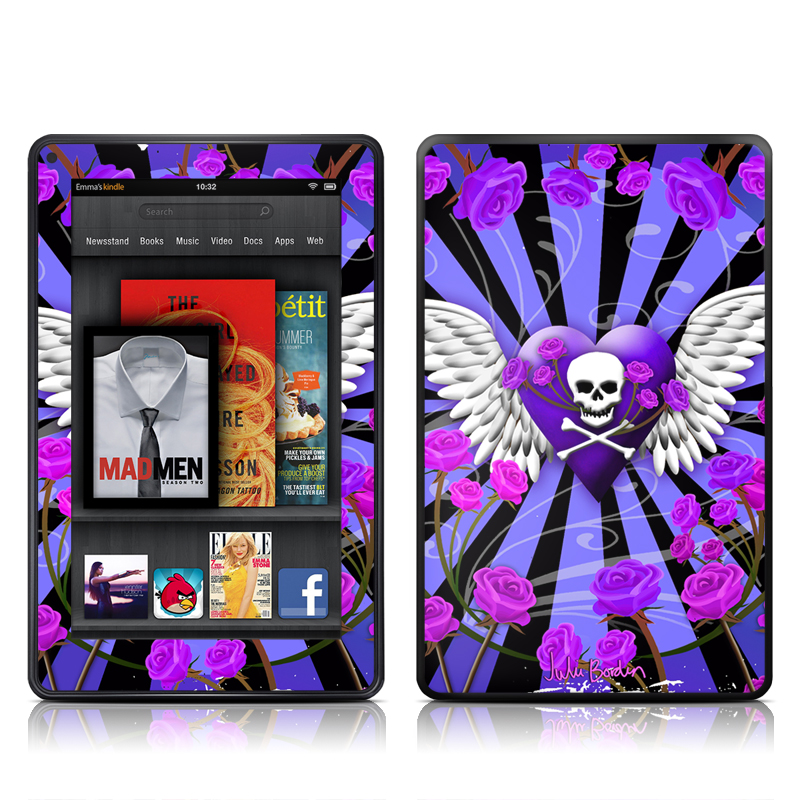 Skull & Roses Purple Amazon Kindle Fire Skin