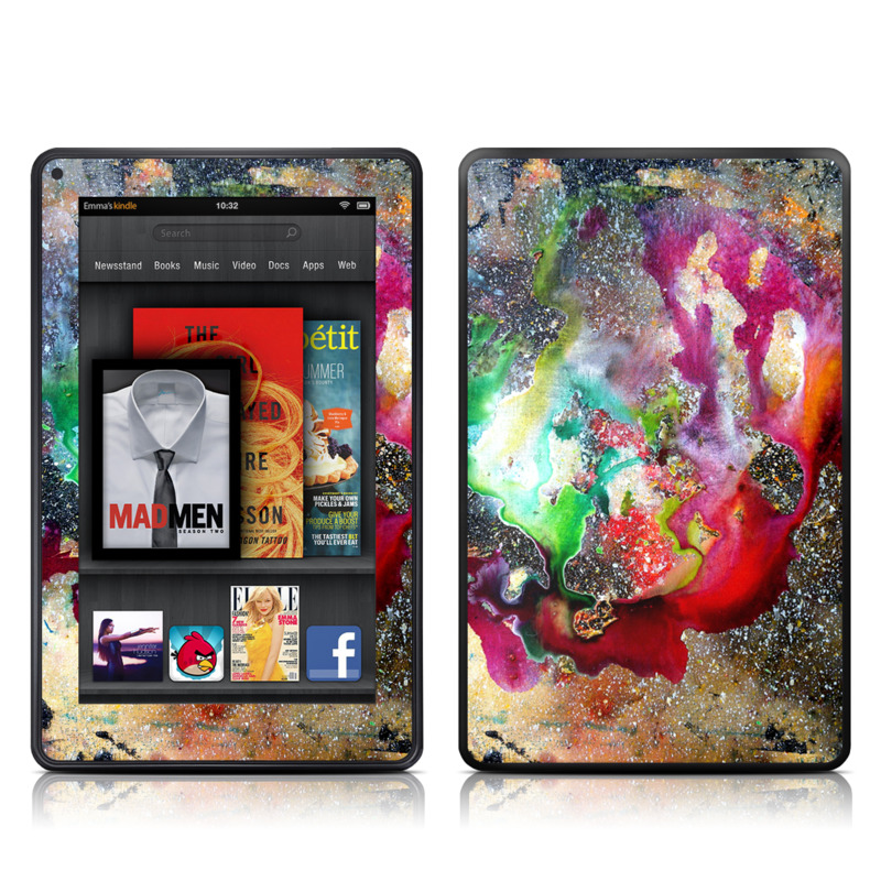 Amazon Kindle Fire 2012 Skin design of Organism, Space, Art, Nebula, Rock with black, gray, red, green, blue, purple colors