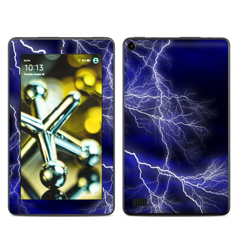 Amazon Fire 2015 Skin design of Thunder, Lightning, Thunderstorm, Sky, Nature, Electric blue, Atmosphere, Daytime, Blue, Atmospheric phenomenon with blue, black, white colors