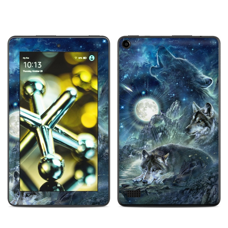Amazon Fire 2015 Skin design of Cg artwork, Fictional character, Darkness, Werewolf, Illustration, Wolf, Mythical creature, Graphic design, Dragon, Mythology with black, blue, gray, white colors