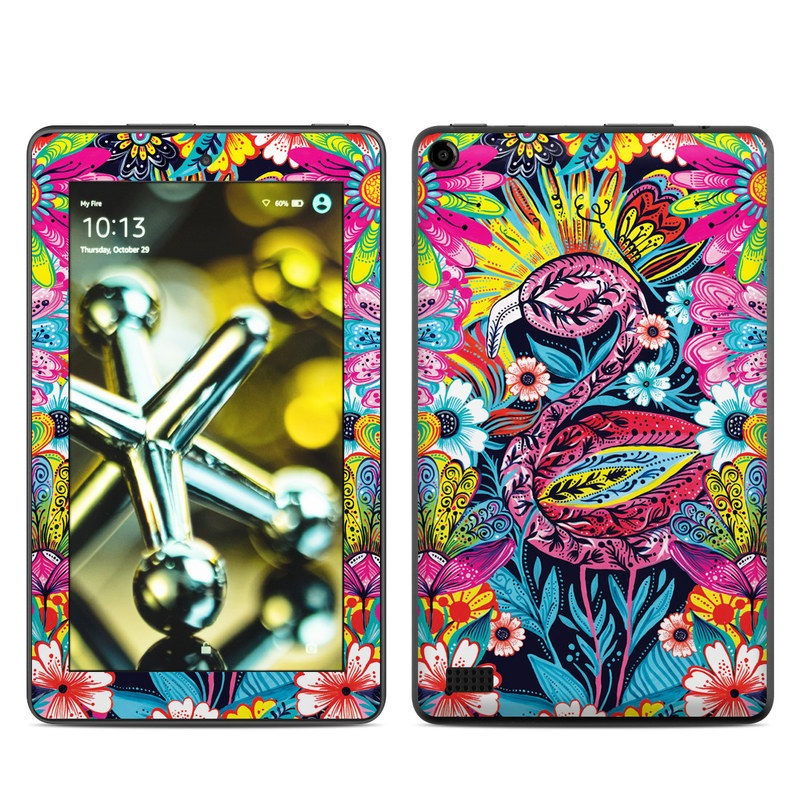 Amazon Fire 2015 Skin design of Psychedelic art, Pattern, Visual arts, Art, Design, Textile, Illustration, Plant, Graphic design, Drawing with pink, yellow, black, blue, white colors