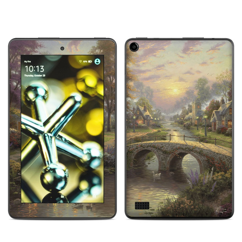 Amazon Fire 2015 Skin design of Nature, Painting, Natural landscape, Morning, Bank, Watercolor paint, Sky, Landscape, Waterway, Art with black, gray, green, red colors
