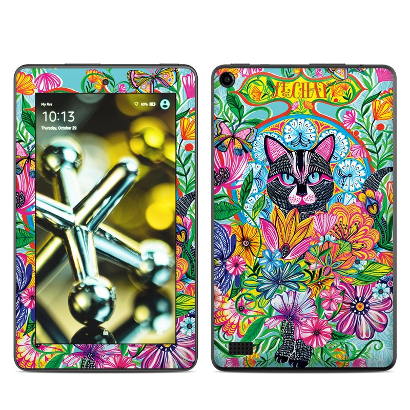 Amazon Fire 2015 Skin design of Visual arts, Art, Plant, Illustration, Pattern, Floral design, Flower, Wildflower with white, blue, pink, black, green, yellow colors