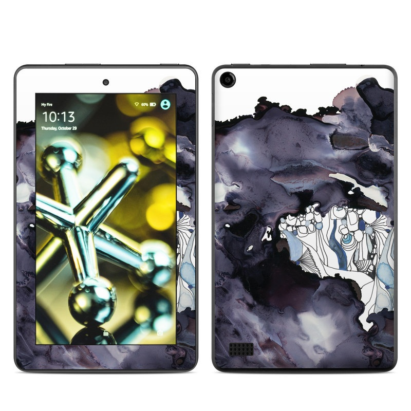 Amazon Fire 2015 Skin design of Watercolor paint, Illustration, Art, World, Paint, Cg artwork, Drawing, Graphic design, Animation, Rock with black, purple, white, blue colors