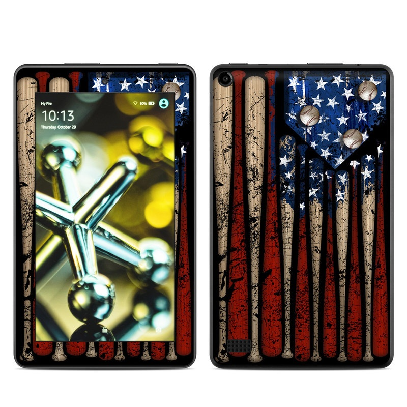 Amazon Fire 2015 Skin design of Baseball bat, Baseball equipment with black, red, gray, green, blue colors