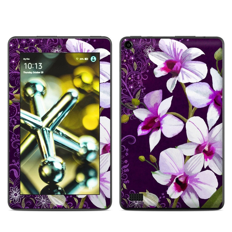 Amazon Fire 2015 Skin design of Flower, Purple, Petal, Violet, Lilac, Plant, Flowering plant, cooktown orchid, Botany, Wildflower with black, gray, white, purple, pink colors