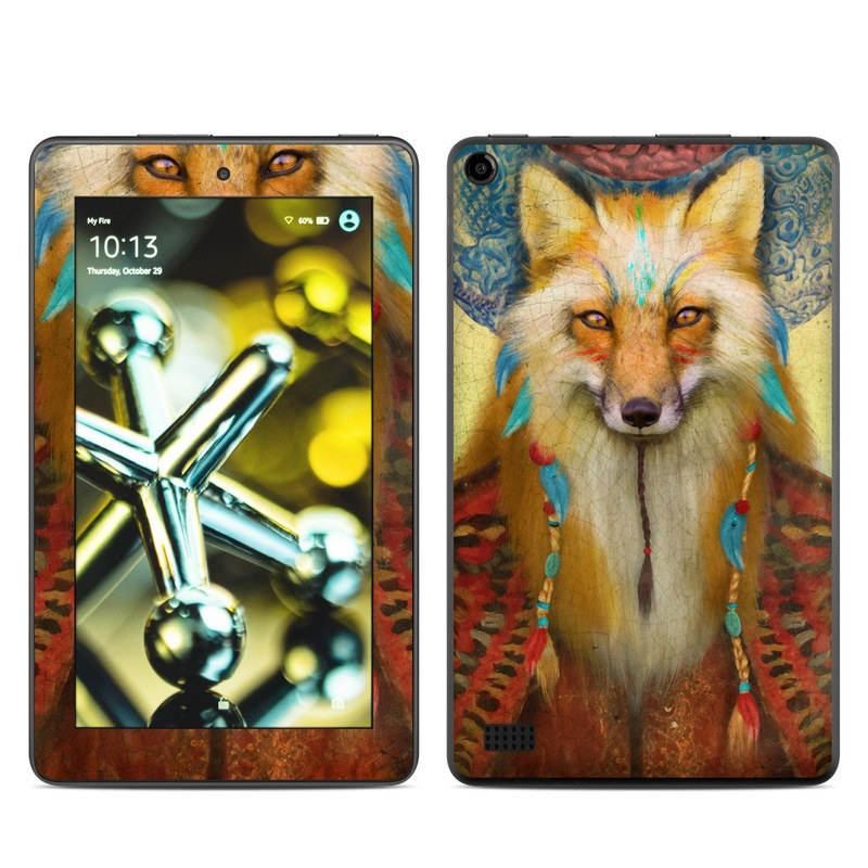 Amazon Fire 2015 Skin design of Red fox, Canidae, Fox, Wildlife, Swift fox, Carnivore, Jackal, Fur, Snout, Art with red, black, gray, green, blue colors