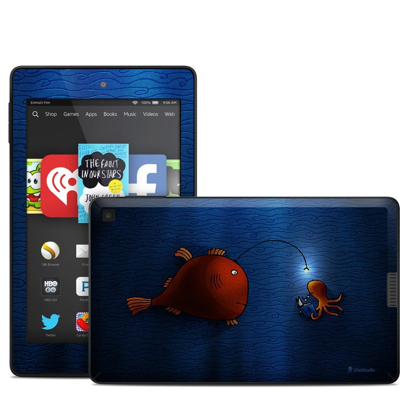 Amazon Kindle Fire HD 6 2014 Skin design of Deep sea fish, Anglerfish, Illustration, Fish, Animation, Art with blue, red colors