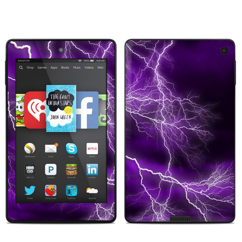Amazon Kindle Fire HD 6 2014 Skin design of Thunder, Lightning, Thunderstorm, Sky, Nature, Purple, Violet, Atmosphere, Storm, Electric blue with purple, black, white colors