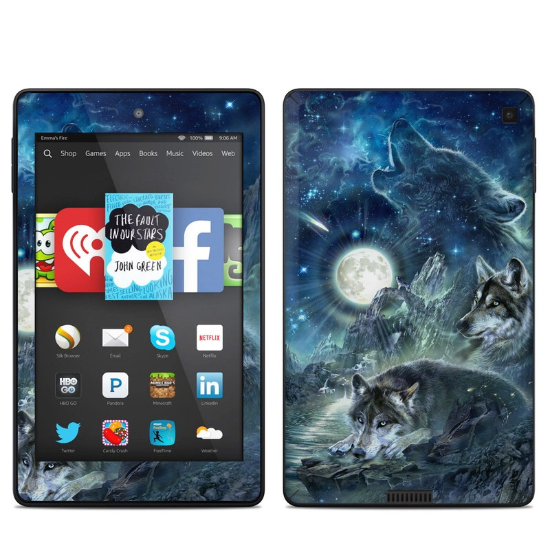 Amazon Kindle Fire HD 6 2014 Skin design of Cg artwork, Fictional character, Darkness, Werewolf, Illustration, Wolf, Mythical creature, Graphic design, Dragon, Mythology with black, blue, gray, white colors